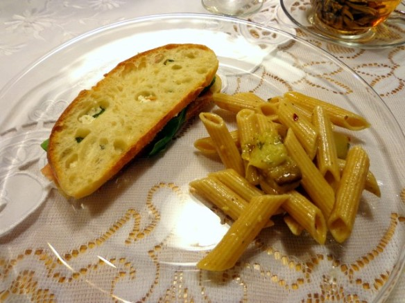 Italian club sandwich with Penne salad with eggplant by Lady N.