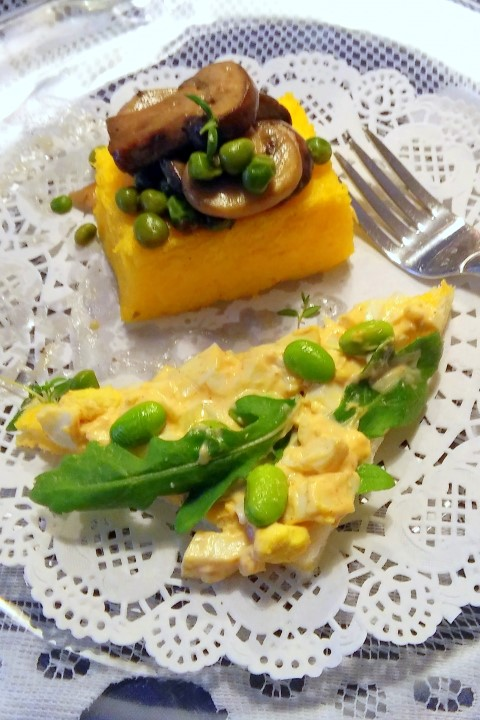 Polenta crostini with mushrooms and Paprika egg salad with edamame and arugula
