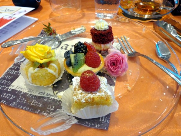 See the pretty luster dust and flowers on the desserts? These are the little touches that guests remember
