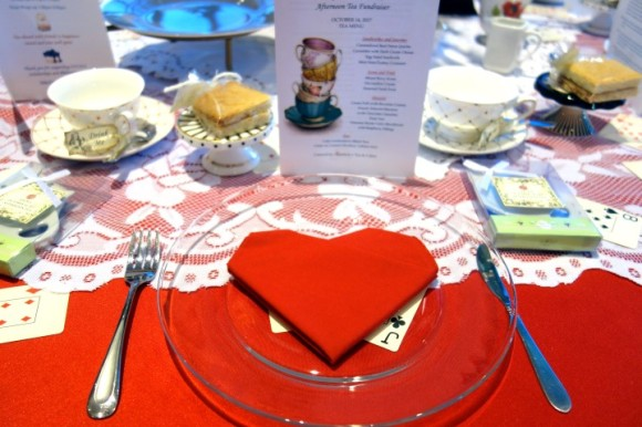 The napkins were black or red and folded as one of 4 card suits: Heart, diamond, spade, and club.