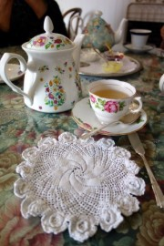 Pretty crocheted doily under the plate