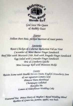 Menu (click to enlarge)